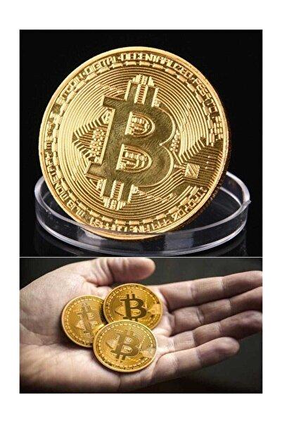 HERFİE 2 adet Bitcoin Madeni Para Altın Rengi Hatıra Koleksiyon Değerli Kutulu (2x)