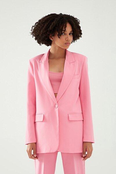 Quzu Kadın Şeker Pembe Blazer Ceket