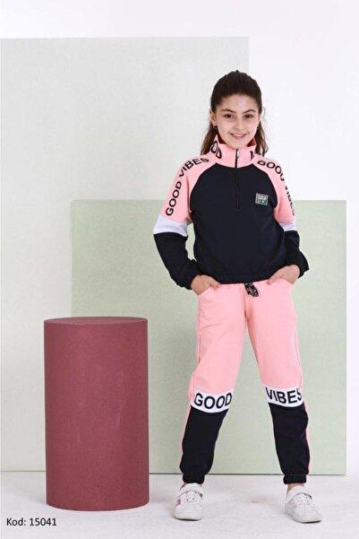 shopshop Şık Model Somon-lacivert Renk Dik Yakalı Kız Çocuk Eşofman Takımı