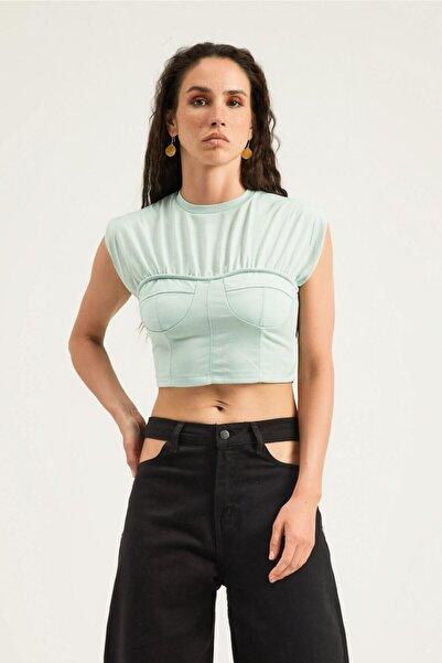 Quzu Kadın Mint Kolsuz Crop Tişört