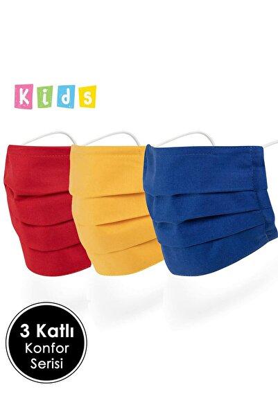 Mutlu Maske 07-16 Yaş Çocuklar Için Telli 3 Katlı Pamuklu Kumaş Renkli Yıkanabilir Bez Çocuk Maskesi 3'lü Set
