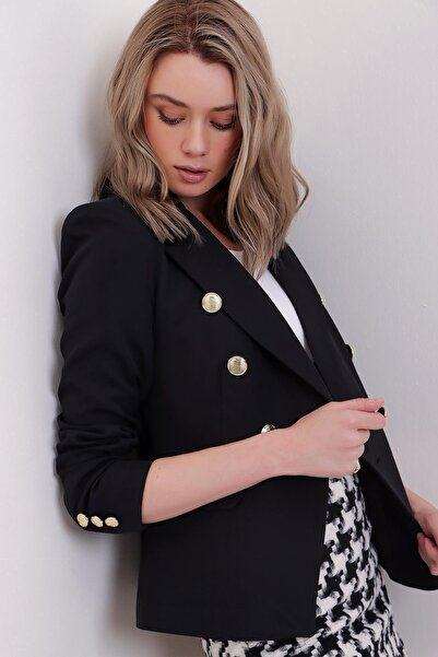 PinkPark Kadın Siyah Omzu Vatkalı Içi Astarlı Kruvaze Düğme Detaylı Blazer Ceket Sl00036