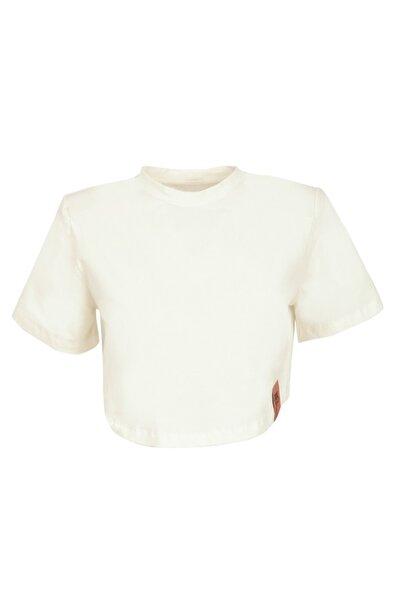 Studioyc Castor Ekru Vatkalı Kısa T-shirt