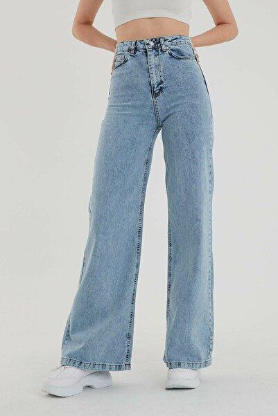 BROWSER Kadın Mavi Yüksek Bel Bol Paça Jeans