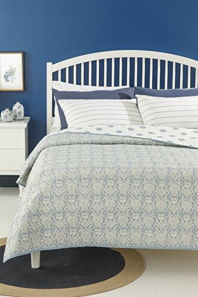 English Home Leaves Shawl Çift Kişilik Çok Amaçlı Yatak Örtüsü 200x220 Cm Mavi