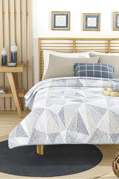 English Home Deltoid Çift Kişilik Çok Amaçlı Yatak Örtüsü 200x220 Cm Mavi