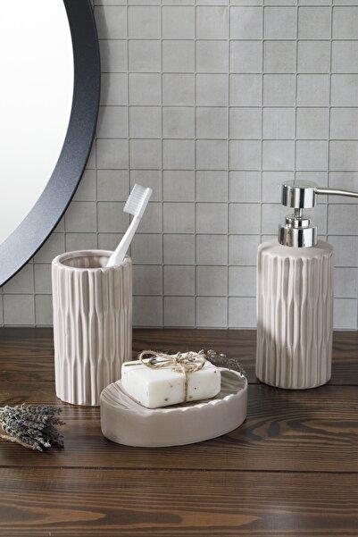 English Home Pure Seramik 3'lü Banyo Seti 17,5x11,9x12,5 Cm Açık Gri