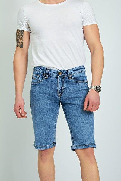muzzo jeans Erkek Mavi Kar Yıkama Jeans Şort