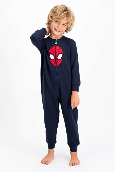 SPIDERMAN Lisanslı Lacivert Erkek Çocuk Polar Tulum