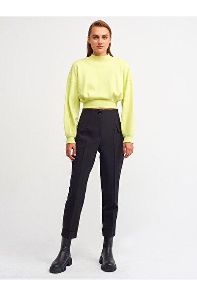 Dilvin 4842 Düğmeli Yüksek Bel Pantolon-siyah