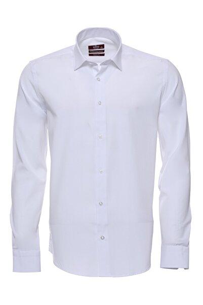 Wessi Beyaz Düz Uzun Kol Regular Kalıp Erkek Gömlek