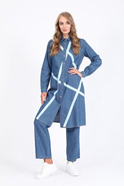 Orhan Baskılı Yıkamalı Tunik Pantolon Takım - Mavi