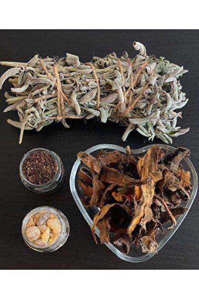 aktarloji Adaçayı Bağ , Ak Günlük Sakızı , Üzerlik Otu Tohumu, Yaprak Buhur 4'lü Bitki Nazar Tütsü Seti