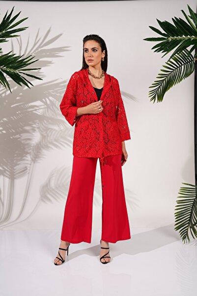 Nelly Kadın Kırmızı Kapüşonlu Dantel Ceket
