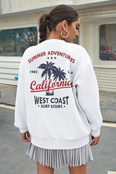 Millionaire Kadın Beyaz California Oversize Sweatshirt