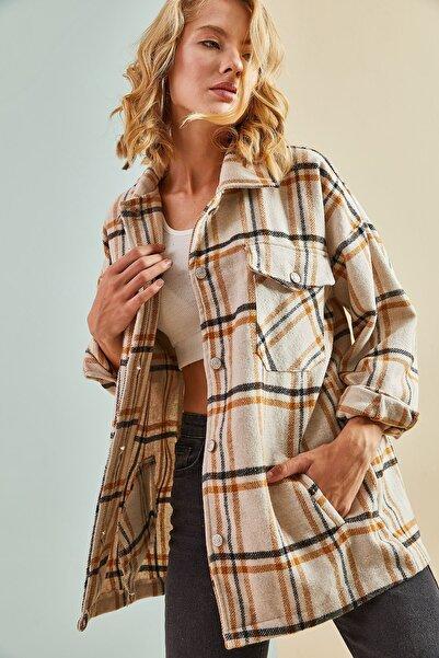 Bianco Lucci Kadını Ekose Desenli Kaşe Ceket