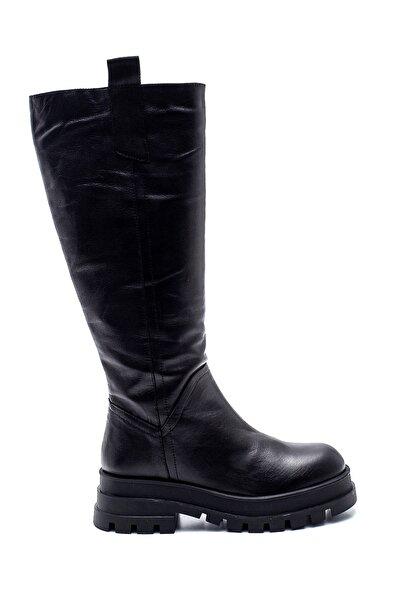 Derimod Kadın Deri Fermuarlı Çizme