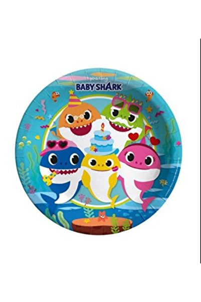 BalonEvi Baby Shark Parti Karton Tabak 23 Cm 8'li