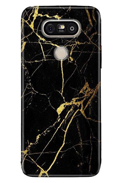 LG G5 Kılıf Pure Modern Desenli Silikon Sarı Siyah Mermer