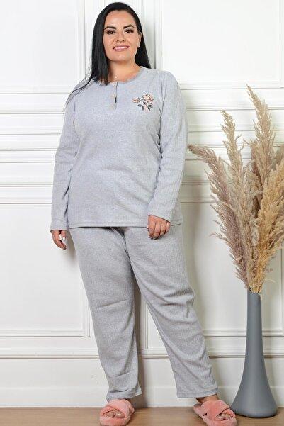 PİNKMARK Kadın Düğmeli Nakış Detaylı Gri Büyük Beden Pijama Takımı Pmtk25340