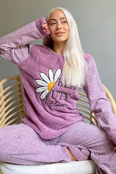 Pijamaevi Mor Papatya Desenli Kadın Peluş Pijama Takımı