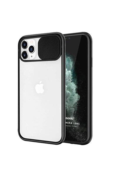 Kılıfland Iphone 12 Pro Max Uyumlu Kılıf Slider Kamera Korumalı Sürgülü Case Siyah + Privacy Cam