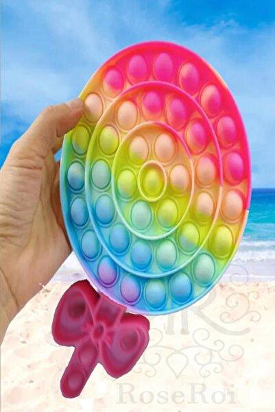 RoseRoi Pop It Push Bubble Fidget Oyuncak Büyük Boy Şeker Zihinsel Stres Oyunu Popit Gökkuşağı