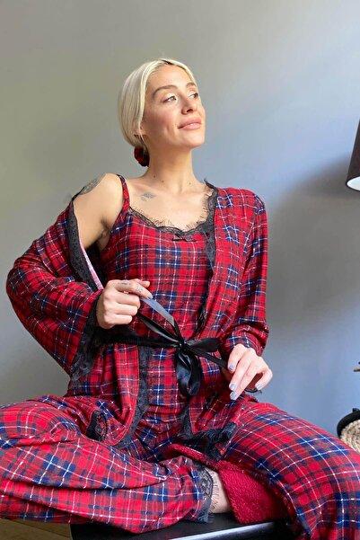 Pijamaevi Piti Kareli Baskılı Sabahlıklı Kadife Pijama Takımı