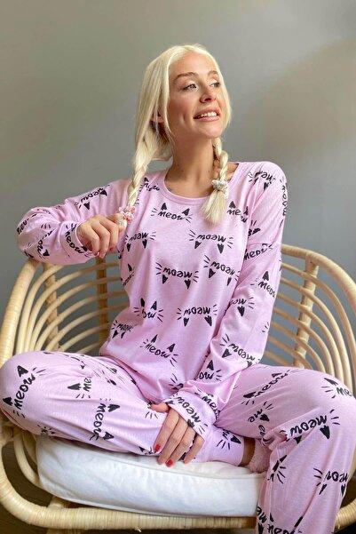 Pijamaevi Pembe Cat Meow Baskılı Uzun Kol Kadın Pijama Takımı
