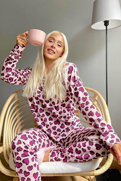 Pijamaevi Mor Kalp Baskılı Uzun Kol Kadın Pijama Takımı