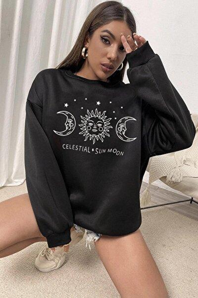 Millionaire Kadın Siyah Celestial Sun Moon Oversize Sweatshirt