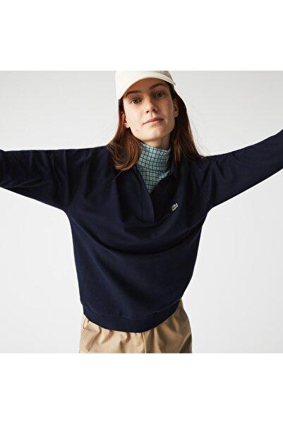 Lacoste Kadın Regular Fit Uzun Kollu V Yaka Lacivert Polo