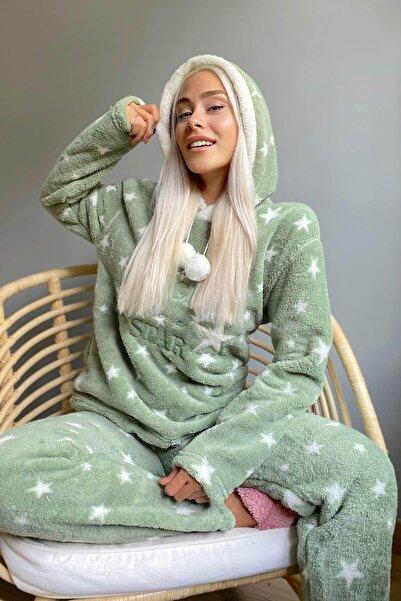 Pijamaevi Yeşil Bright Desenli Tam Peluş Pijama Takımı