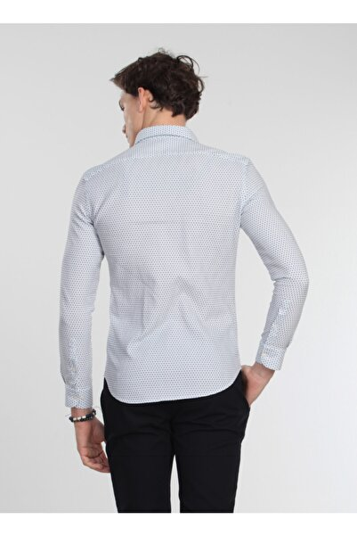 Kip Slim Fit Baskılı Antrasit Gömlek