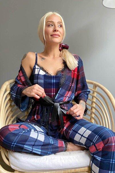 Pijamaevi Ekose Baskılı Sabahlıklı Kadife Pijama Takımı