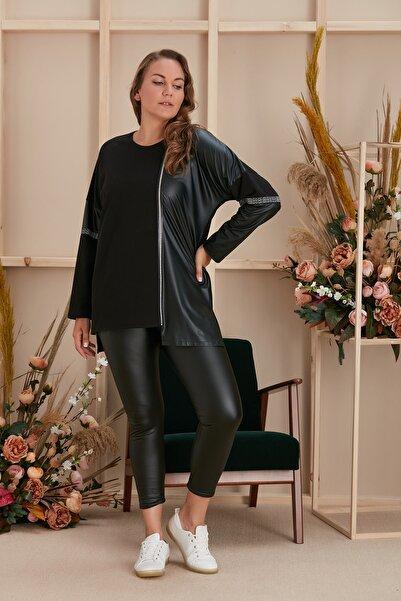 RMG Büyük Beden Deri Detaylı Siyah Bluz