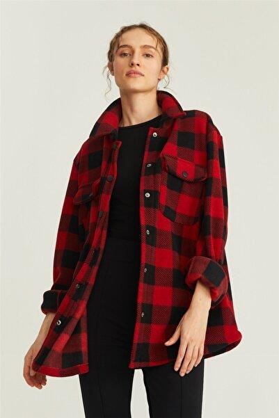 nalu Kırmızı Oduncu Ekose Oversize Gömlek Ceket