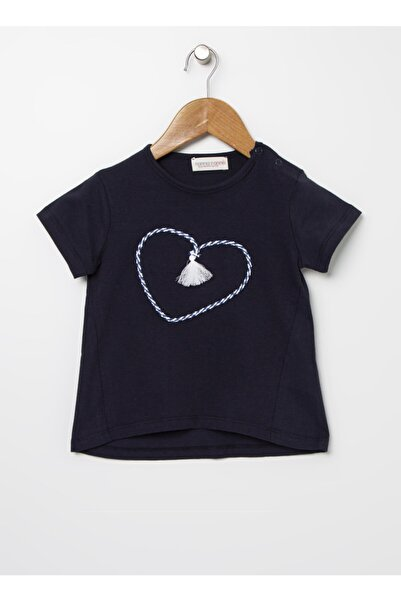 Mammaramma Kız Çocuk Püskül Detaylı Lacivert T-shirt