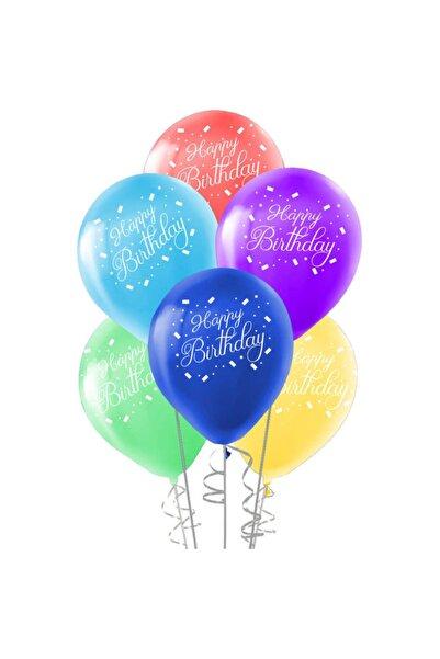 partiyy Happy Birthday Baskılı Renkli Balon 12inç 10'lu