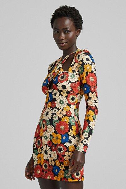 Bershka Çiçek Desenli Mini Elbise
