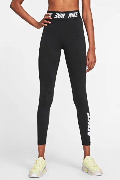 Nike Sportswear Tight Fit Bel Bantlı Yüksek Belli Pamuk Polyester Siyah Tayt