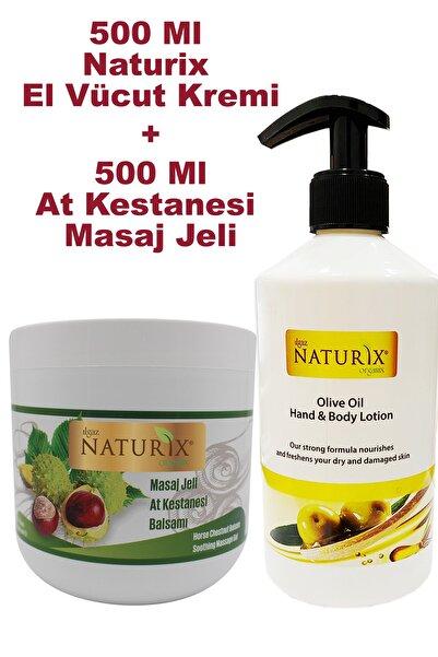 Naturix At Kestanesi Masaj Jeli 500 ml Balsam + Zeytin Yağlı 500 ml El Vücut Nemlendirici Krem
