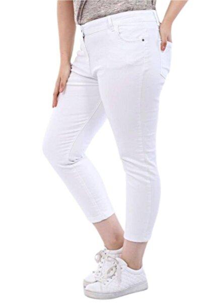 Hanezza Büyük Beden Kadın Bilek Boy Strech Beyaz Kot Pantolon