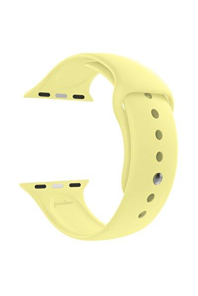 printone Apple Watch 1 2 3 4 5 6 Se Nike 38mm 40mm Uyumlu Kordon Spor Silikon Bileklik S/m - Açık Sarı