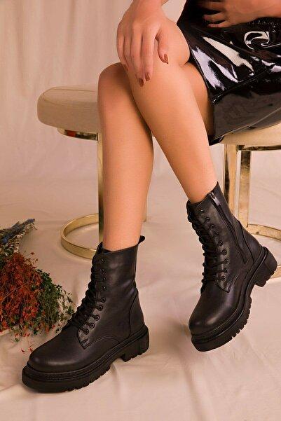 NOVİNS Kadın Siyah Bot&bootie&postal