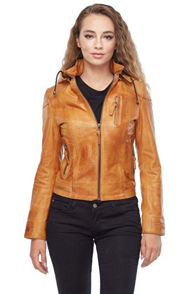 Deriza Kapüşonlu Taba Kadın Deri Ceket