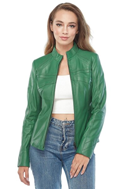 Deriza Cinzia Yeşil Deri Ceket