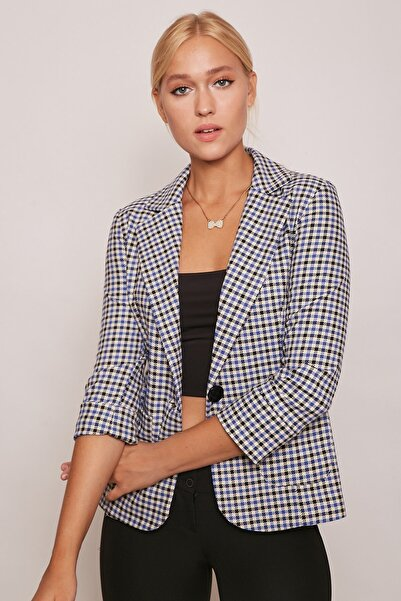 Jument Kadın Blazer Desenli Tek Düğme Şık Ofis Ceket -mavi Desen
