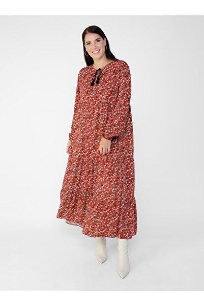 ALİA Büyük Beden Doğal Kumaşlı Çiçek Desenli Elbise - Kiremit -