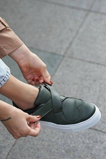 Mio Gusto Haki Yeşil Deri Kadın Sneaker